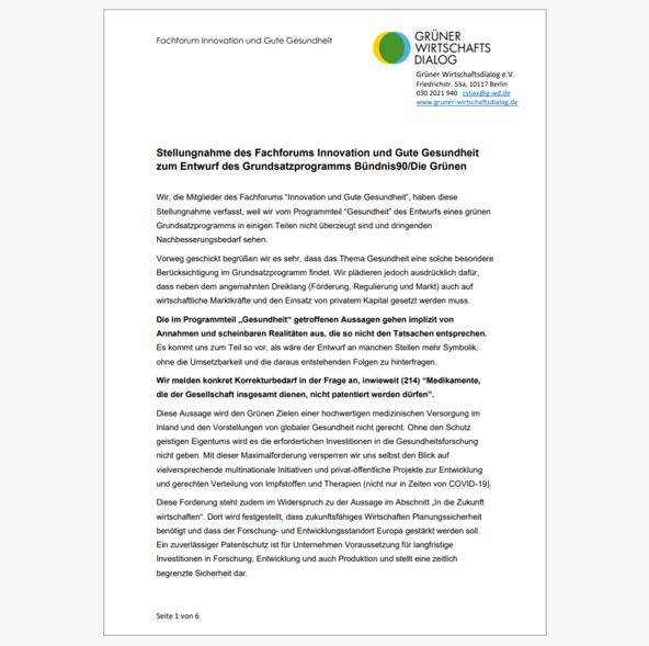 Stellungnahme des Fachforums Innovation und Gute Gesundheit zu Grundsatzprogrammentwurf der Grünen